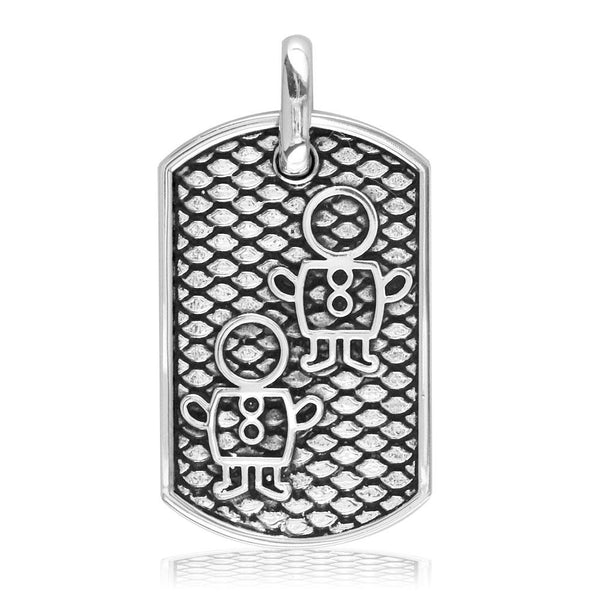 Sziro Boys and Girl Dog Tag Charm for Dad, Mom in Sterling Silver