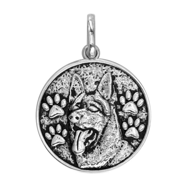 Large Round German Shepherd Charm with Black in Sterling Silver