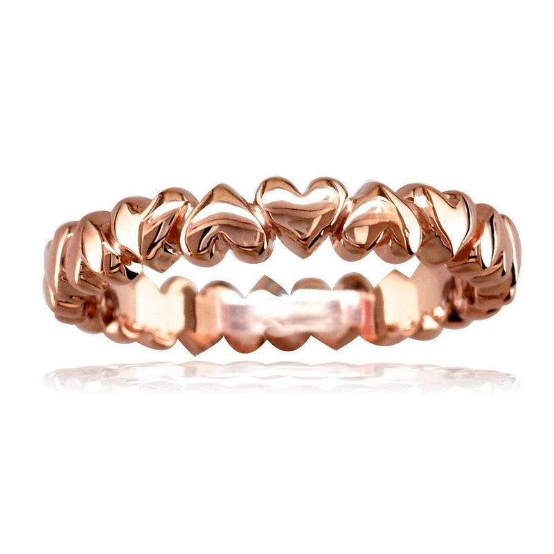 Eternity Hearts Stacker Ring in 14K Pink Gold