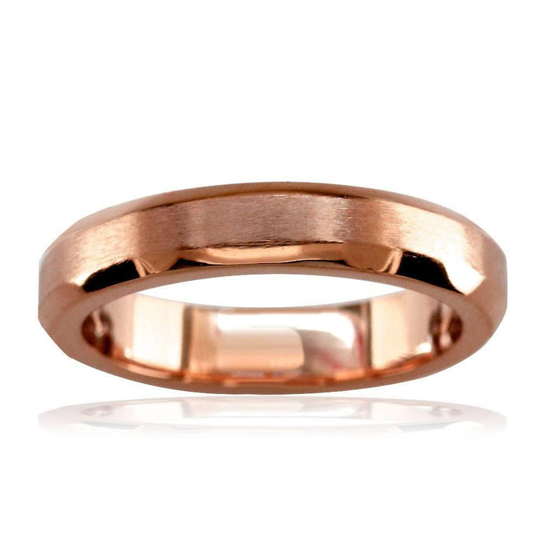 Bevel Edge Wedding Band in 14K Pink Gold, Satin Middle, Polished Sides, 4mm