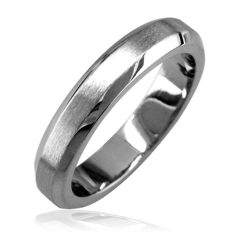 Bevel Edge Wedding Band in 14K White Gold, Satin Middle, Polished Sides, 4mm