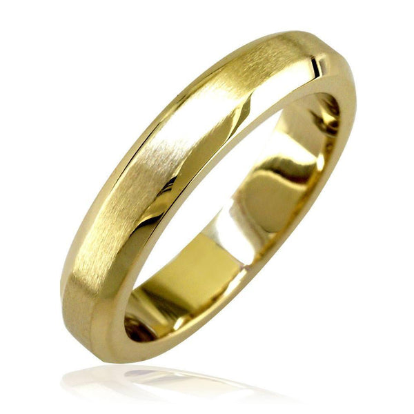 Bevel Edge Wedding Band in 14K Yellow Gold, Satin Middle, Polished Sides, 4mm
