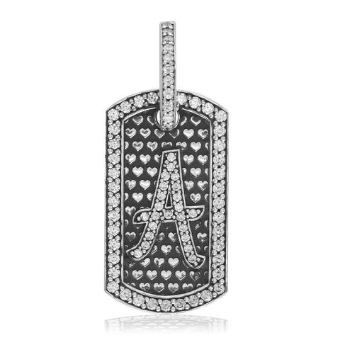Cubic Zirconia Initial a Dog Tag Charm with Black in Sterling Silver