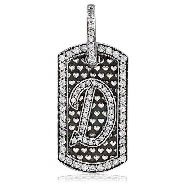 Cubic Zirconia Initial D Dog Tag Charm with Black in Sterling Silver
