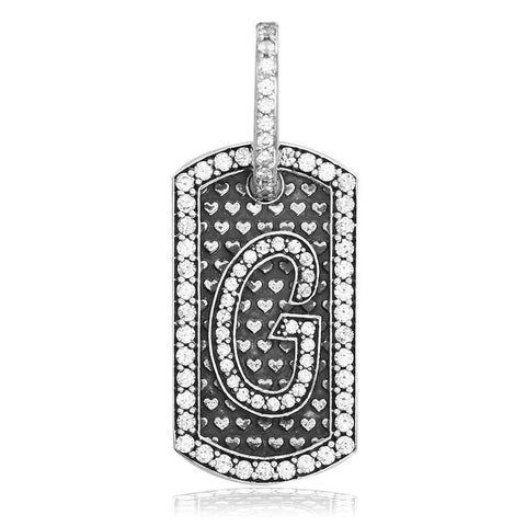 Cubic Zirconia Initial G Dog Tag Charm with Black in Sterling Silver