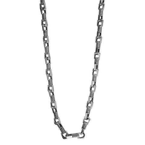 Mens Coil Link Sterling Silver Chain with Black, 22 Inches