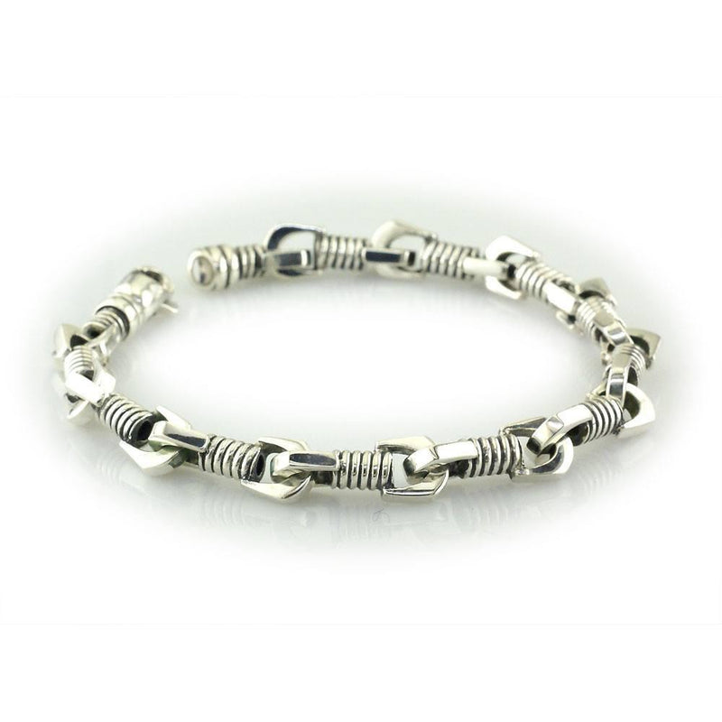 Mens Coil Link Sterling Silver Bracelet with Black, 8.5 Inches