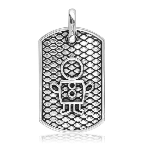 Sziro Boy and Girl Dog Tag Charm for Dad, Mom in Sterling Silver