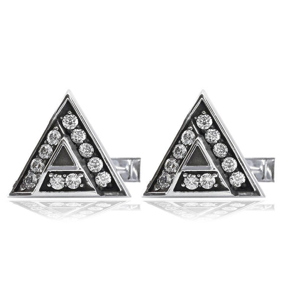 Custom Logo Cubic Zirconia Cufflinks in Sterling Silver