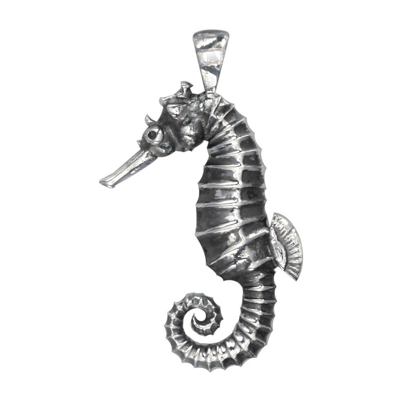 3D Seahorse Charm in Sterling Silver with Black