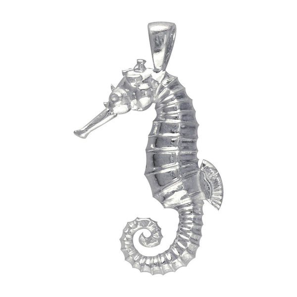 3D Seahorse Charm in 14K White Gold