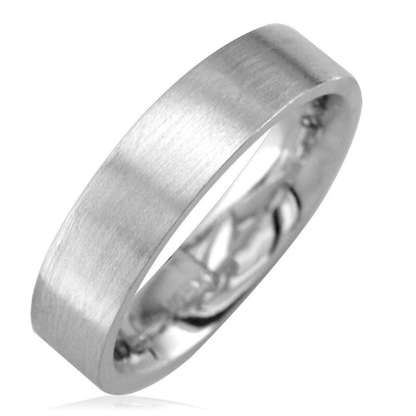 Mens Flat Wedding Band in 14K White Gold, Satin Middle, Polished Sides, 5.5mm