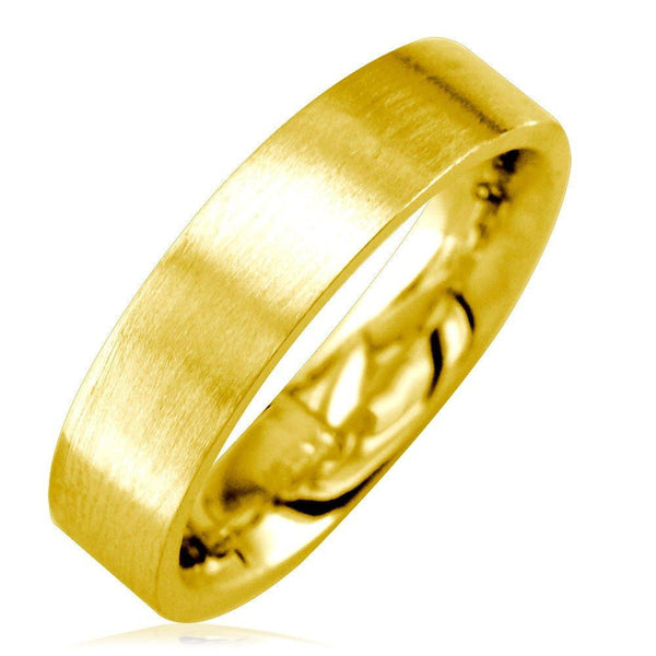 Mens Flat Wedding Band in 14K Yellow Gold, Satin Middle, Polished Sides, 5.5mm