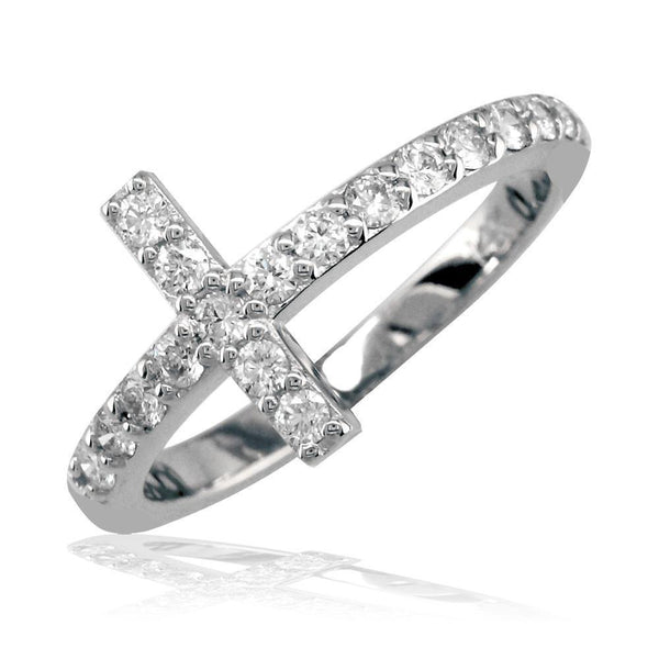 Cubic Zirconia Cross Ring in Sterling Silver