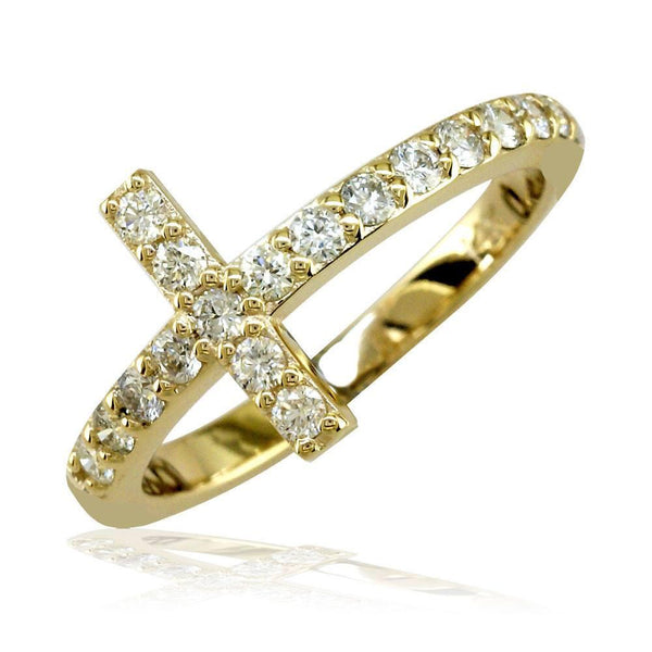 Diamond Cross Ring in 14K Yellow Gold