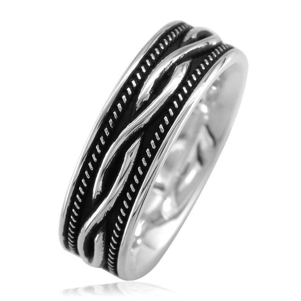 Wide Infinity Wedding Band with Rope Design and Black in Sterling Silver, 8mm
