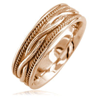 Wide Infinity Wedding Band with Rope Design in 14K Pink Gold, 8mm