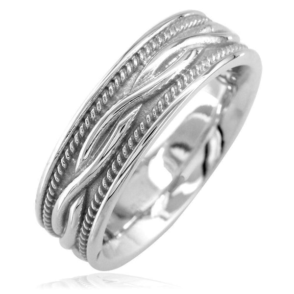Wide Infinity Wedding Band with Rope Design in Sterling Silver, 8mm