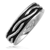 Infinity Wedding Band with Black in Sterling Silver, 6mm