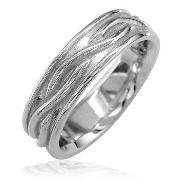Infinity Wedding Band in 14K White Gold, 6mm