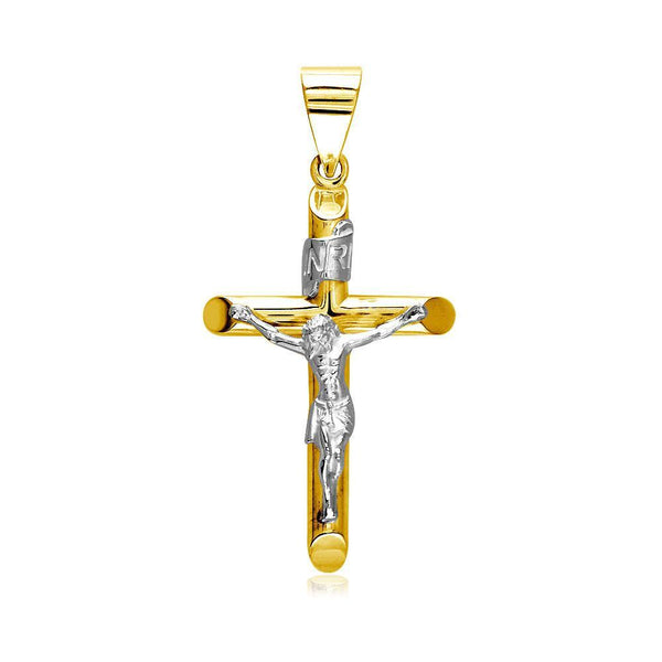 36mm Inri Jesus Crucifix Cross Charm in 14K Yellow and White Gold