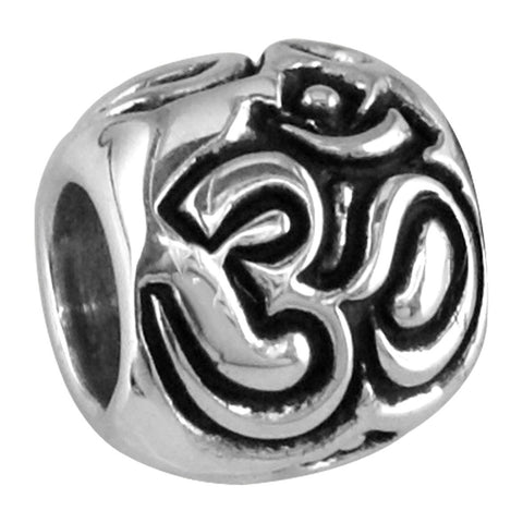 Embossed Yoga Ohm, Om, Aum Charm Bracelet Bead in 14K White gold