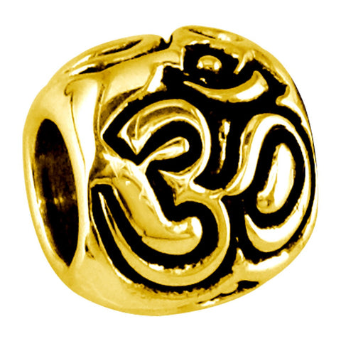 Embossed Yoga Ohm, Om, Aum Charm Bracelet Bead in 14K Yellow gold