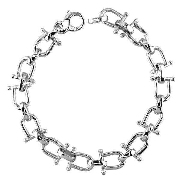 Shackle Link Mens Bracelet in 14K White Gold
