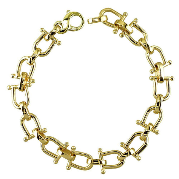 Shackle Link Mens Bracelet in 14K Yellow Gold