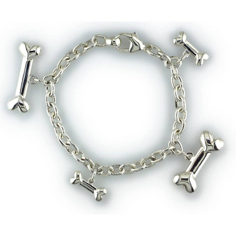 Family Dog Bone Charm Bracelet in Sterling Silver
