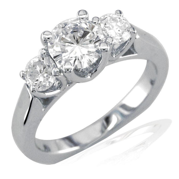 3 Stone Diamond Ring Setting, Round Sides, 0.50CT