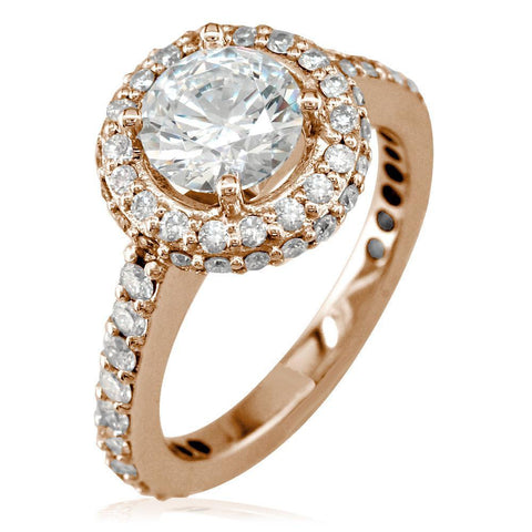 Diamond Halo Engagement Ring Setting, 0.70CT Sides in 14k Pink, Rose Gold