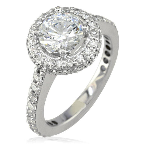 Diamond Halo Engagement Ring Setting, 0.70CT Sides in 18k White Gold