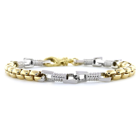 Mens Fancy and Box Links Bracelet, 8.5 Inches in 14k Two Tone Gold