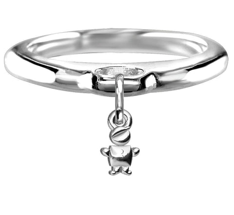 Chubby Belly Boy Charm Ring in Sterling Silver