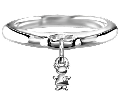 Chubby Belly Girl Charm Ring in Sterling Silver