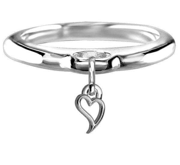 Chubby Wavy Heart Charm Ring in Sterling Silver