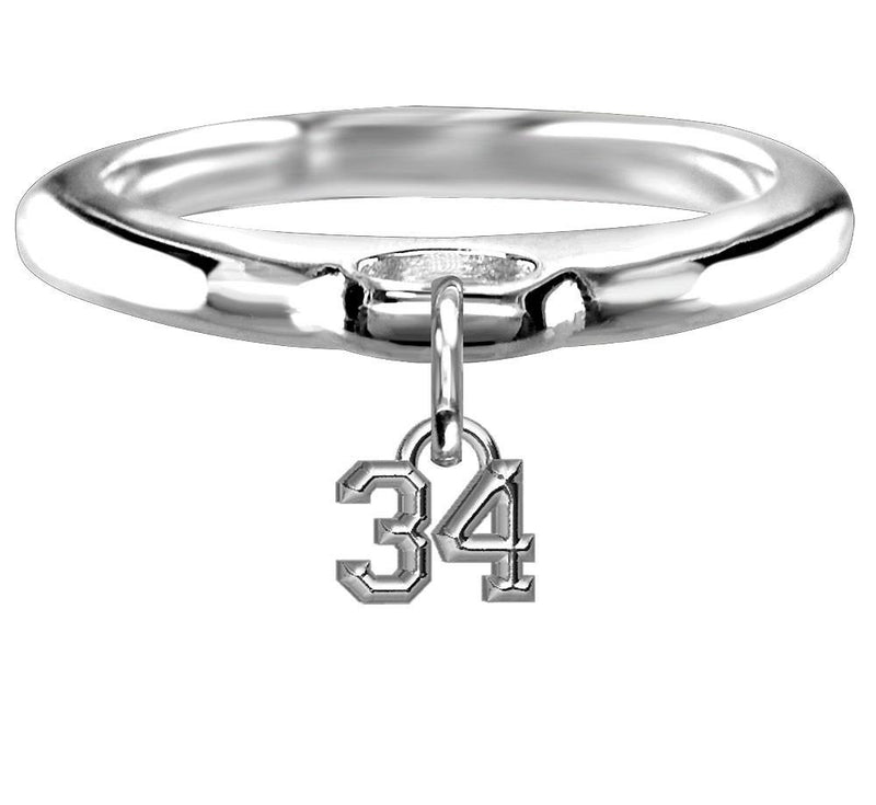 Chubby #34 Sports Charm Ring in Sterling Silver, Any Number