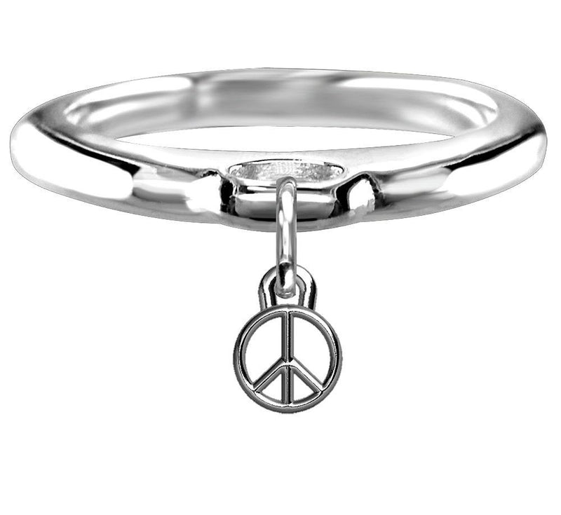 Chubby Peace Sign Charm Ring in Sterling Silver