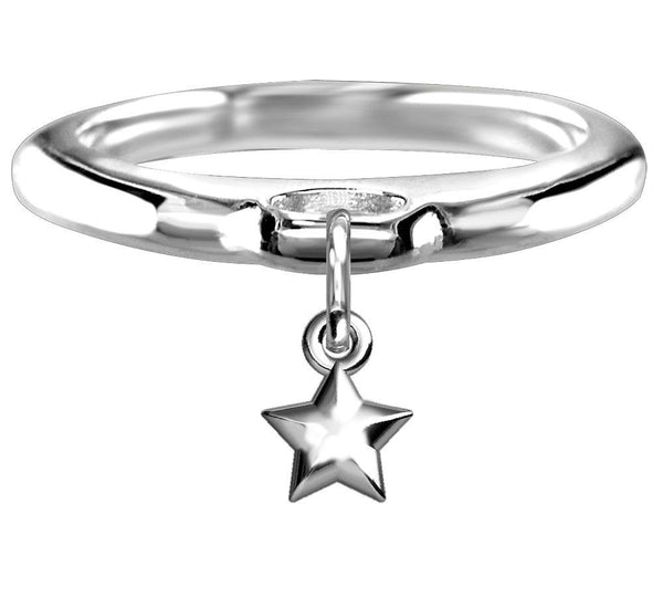 Chubby Star Charm Ring in Sterling Silver