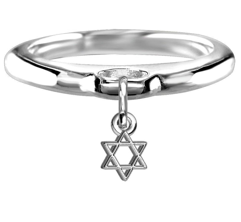 Chubby Star Of David Charm Ring in Sterling Silver