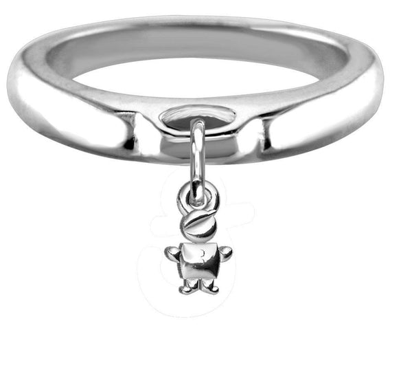 Chubby Belly Boy Charm Ring, Wide, Domed in Sterling Silver