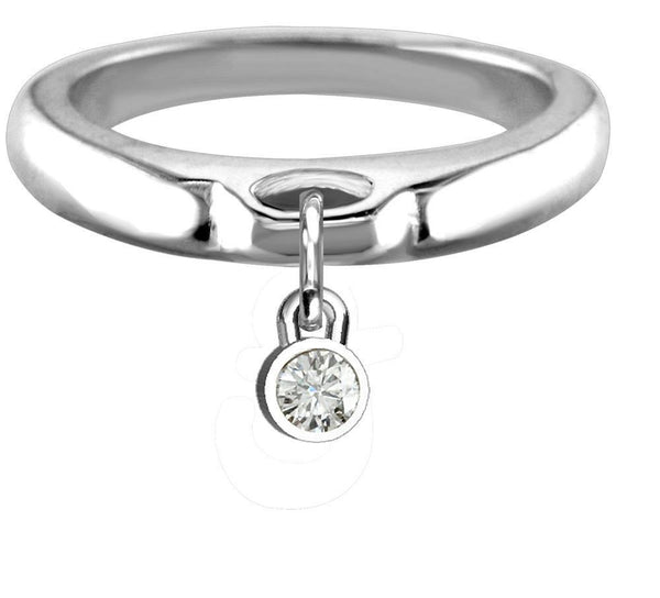 Round Cubic Zirconia Charm Ring, Wide, Domed in Sterling Silver