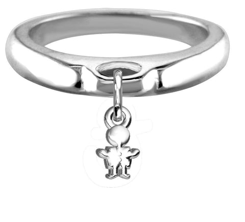 Chubby Boy Charm Ring, Wide, Domed in Sterling Silver