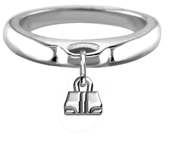 Chubby Handbag Charm Ring, Wide, Domed in Sterling Silver
