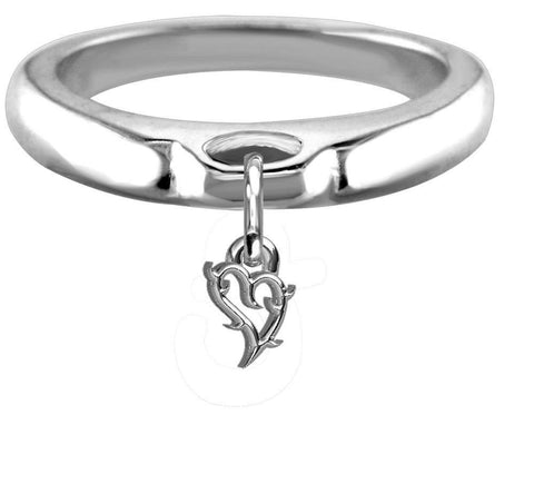 Chubby Guarded Love Heart Charm Ring, Wide, Domed in Sterling Silver