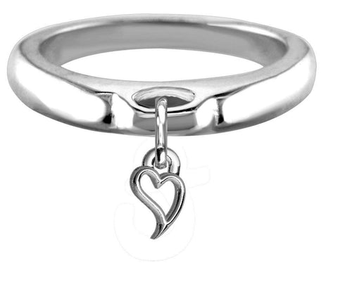 Chubby Wavy Heart Charm Ring, Wide, Domed in Sterling Silver