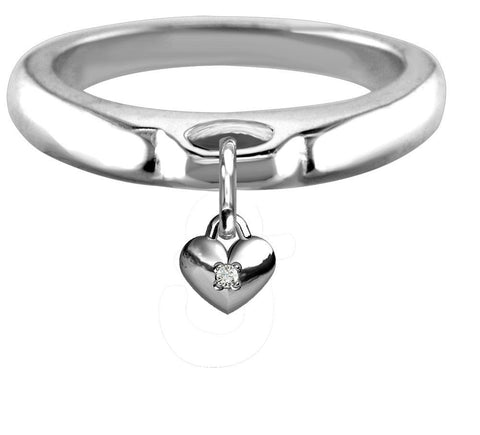 Chubby Cubic Zirconia Heart Charm Ring, Wide, Domed in Sterling Silver