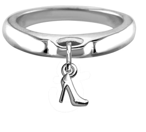 Chubby High Heel Charm Ring, Wide, Domed in Sterling Silver