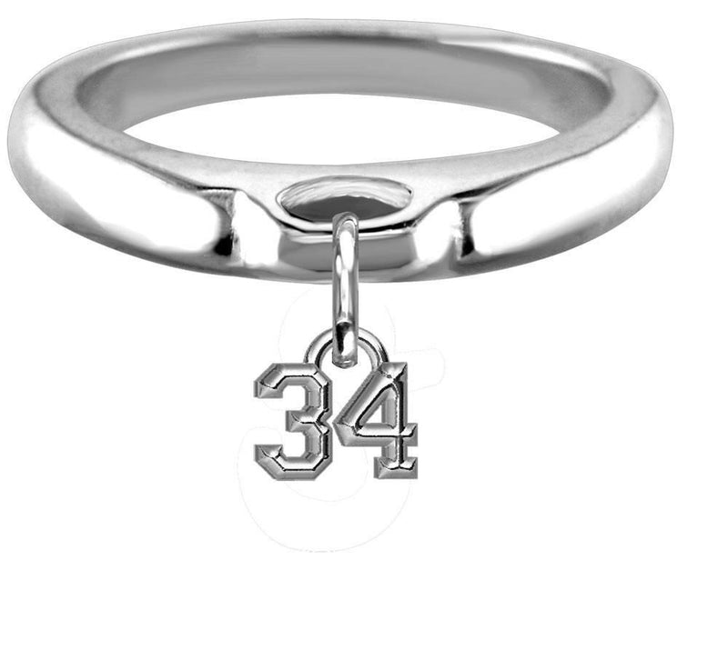 Chubby #34 Sports Charm Ring, Wide, Domed in Sterling Silver, Any Number